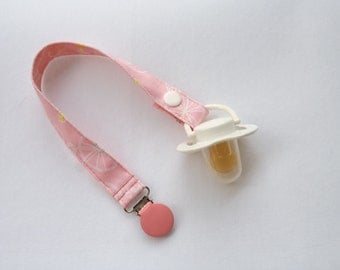Girls Pacifier Clip-Pink Bicycles Print.  Baby girls pacifier holder/binky holder/binky clip.