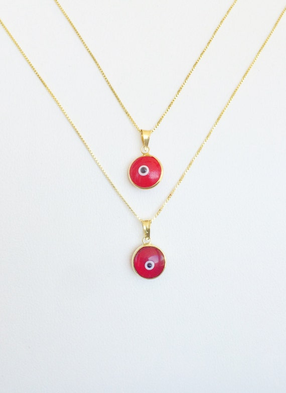 glass eye pendant, red necklace, red jewelry, eye necklace, red pendant, red charm, red glass eye, good luck charm, round evil eye necklace