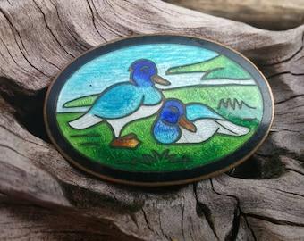 Vintage enameled copper duck brooch