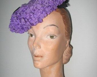 1930's-40s Black Straw Pompadour Hat / Violet Carson