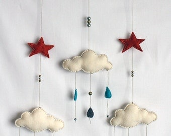 Rain Clouds Felt Baby Mobile