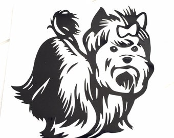 DIY Vinyl Decal Yorkie Dog Choose Size, Choose Vinyl Color, LapTops, Cell Phone, Car Windows, Coffee Cups, Drinking Cups, Home Decorations