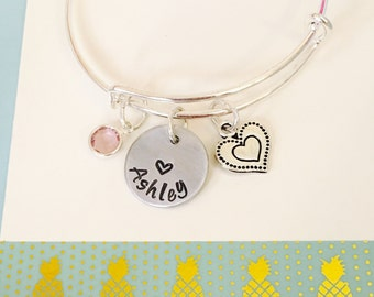 Personalized Name Bangle Bracelet, Name Bracelet, Silver, Personalized Name Bracelet,Girls Bracelet, little Girl Charm Bracelet