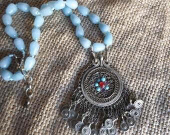 Kuchi baby blue jade necklace