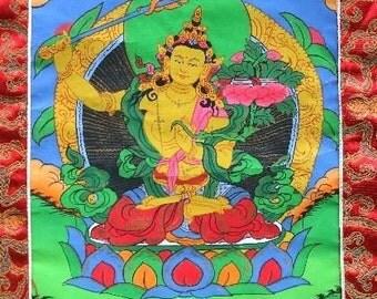 TANGKA Tibetan MANJUSHRI Buddha dorje meditation wisdom zen dharma Buddhist painting support