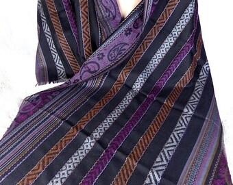 ETHNIC PASHMINA wool black purple shawl stole scarf shawl stole LJ16