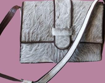 Vintage Goatskin and leather Shoulderbag Handbag Ladiesbag Messengerbag ca 1970