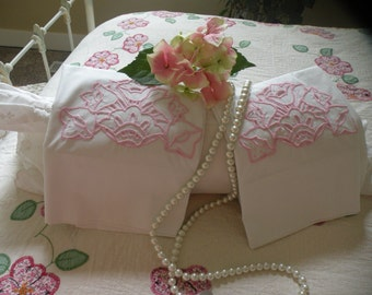 Cottage Chic, Pink Embroidered , Cutwork Pillowcase Pair