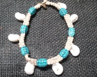 Hemp Ankle Bracelet With White Sea Shell Charms and Blue Tiki Beads.