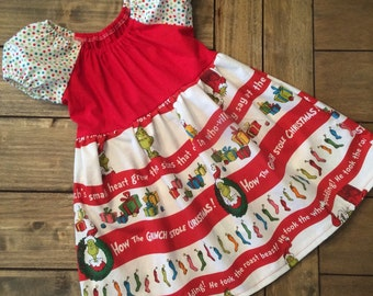 Sale Grinch Dress Ready to ship size 12 months, Girls christmas dress