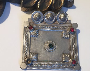 Antique Pendant/Afghan kochiTribe/Bohemian old silver necklace/collectible bead/vintage/gypsy Style/Tribal/Ethnic NJB392