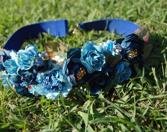 Belt blue elastic with fabric flowers