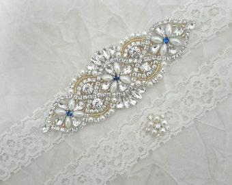 Bridal Garter, Wedding Garter, Something Blue Garter, Gold Garter,  Ivory Garter Set, Rhinestone Garter, Pearl Garter,  Best Friend Bridal