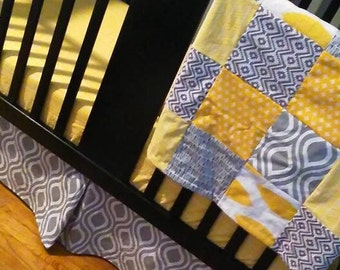 Custom Crib Bedding Set, Made to Order, Yellow and grey, chevron, modern, crib skirt, sheet, baby blanket