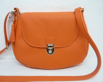 Shoulder leather bag orange