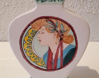 Hand Painted Ceramic Art Nouveau Mucha Style Flat Bud Vase