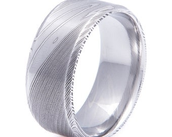 Men's Damascus Steel Wedding Band with Wide Beveled Edge 10mm