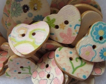 Pack of 10 25mm Floral Pastel Wooden Heart Buttons