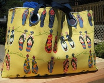 Large / Colorful / Flip Flop Beach Tote / Weekend Bag/Boater's Bag