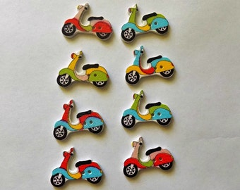 8 Wooden  Motorcycle  Buttons - #SB-00236