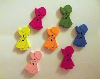 12 Little  Wooden Doll Buttons -  #SB-00184