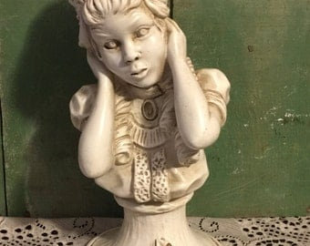 Universal Statuary 1971 Presents This Upper Body Sculpture of a Victorian Style Girl with Curls