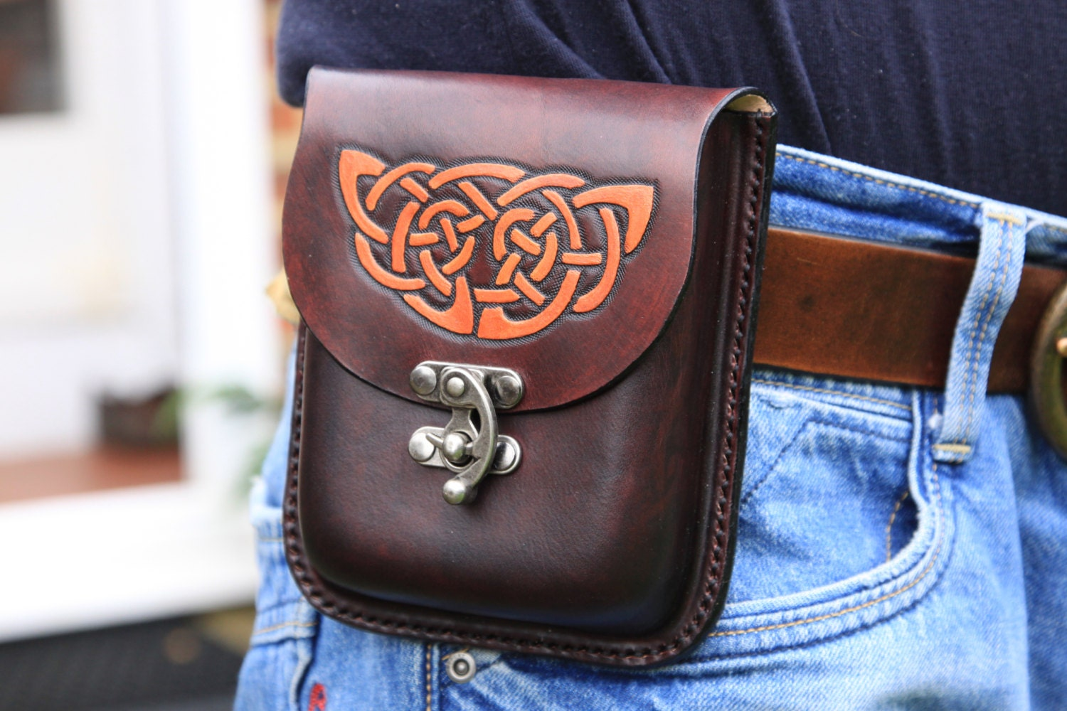 handmade leather belt pouch brown