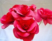 Set of 6 Book Page Paper Flowers, Red Paper Flowers, Book Stem Roses, Vintage Paper Rose, Paper Wedding Decor, Eco Wedding, Centerpiece