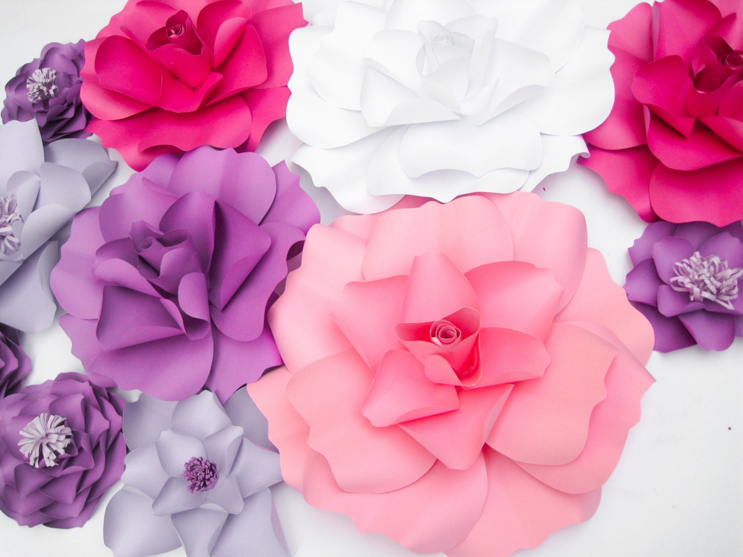 11 Paper Flowers Backdrop, Kate Spade Inspired Party, Purple Wedding ...