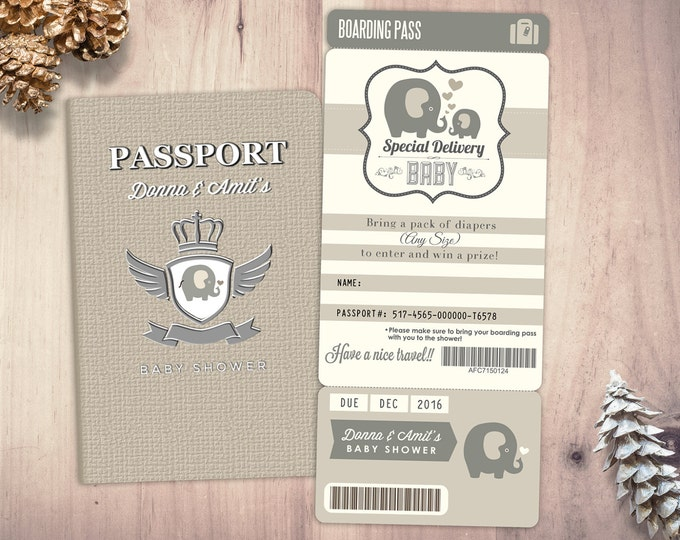 PASSPORT and TICKET baby shower invitation! Coed baby shower invitation- travel baby shower couples baby shower, Digital files only