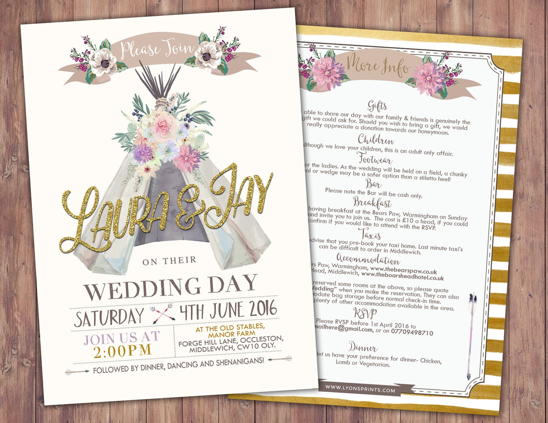 BOHO wedding Invitation teepee invitation invitation floral – Wedding Couple Shower Invitations