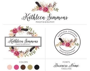 Flower logo feather logo premade logo package photographers logo business logo floral marketing kit boutique logo branding package
