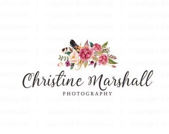 Floral logo design photography logo flower logo premade logo design graphic design boutique logo