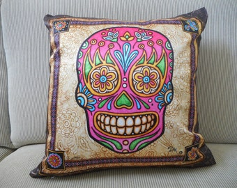 """Pink Sugar Skull Accent Pillow Cover, Decorative Pillow, Sugar Skull Art, 18""""x18, Dan Morris, ,Day of the Dead, Home Decor Pillow Cover only"""