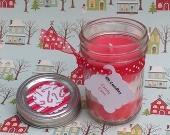 Candy cane scented candle in a Kerr quilted jar. Red and white striped candles with the sweet scent of candy cane