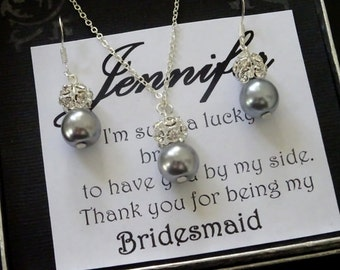 Thank you for beeing my Bridesmaid Jewelry set, Pearl and rhinestone necklace and Earrings, Bridesmaid Necklace Sets, Maid of Honor Gift,