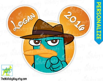 Perry the Platypus from Phineas and Ferb Disney Printable Disney Iron On Transfer or as Clip Art, DIY Disney Shirt, Family, Matching Shirts