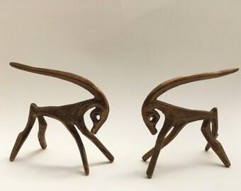 Mid Century Modern Vintage pair of bronze Frederick Weinberg gazelles