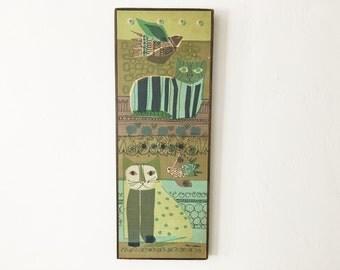 Vintage 1960's wall art silkscreen on linen. Designed by Helen Webber for Tom Tru Corp.
