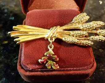 Gold Tone Wheat Brooch with Oak Leaf Vintage Pin