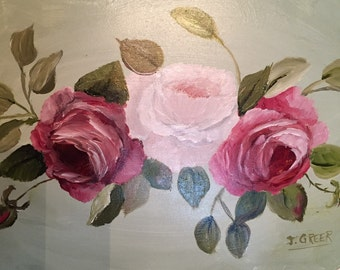 Handpainted roses on a metal tray