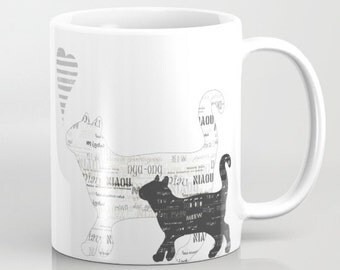 Decorative cat mug Personalized - 11 or 15 oz - Kittens black and white Birthday Gift for her for cat lovers Coffee Cup Boyfriend Girlfriend