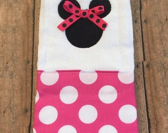 Minnie mouse pink and white polka dot burp cloth