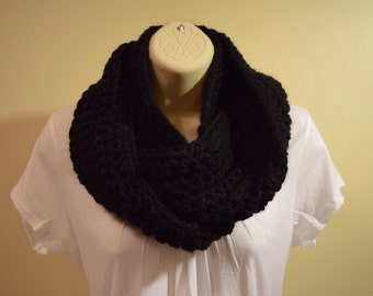 crocheted chunky infinity scarf circle scarf,  black