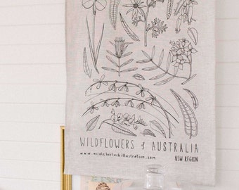 Wildflowers of Australia | LINEN TEATOWEL