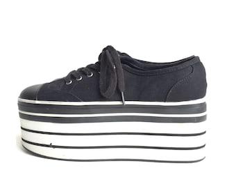 90s Cyber Clubkid Platform Canvas Sneakers sz 7