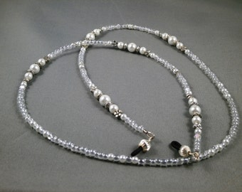 """Eyeglasses holder with bead chain 26"""" to 32"""" long lanyard necklace ,white glass pearls and crystals beaded glasses strap ,holders or ring"""