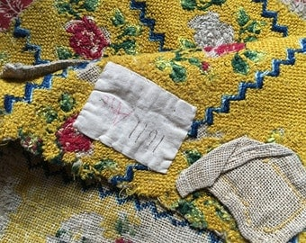 Antique silk tapestry late 1800s, armchair sample, yellow, red, white, blue green floral motif, upholstery, cushion, vintage textile