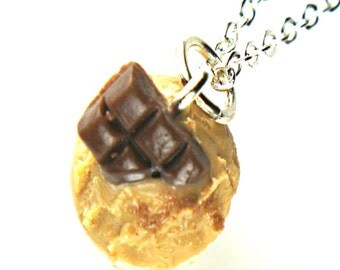 Chocolate Peanut Butter cupcake necklace- miniature food jewelry, sterling silver