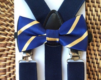 Navy Blue and Gold Suspender and Bowtie Set- 6 Months to 5 Years Old